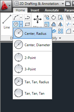 Drawing a circle in AutoCAD