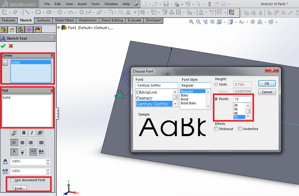 Change font size in solidworks