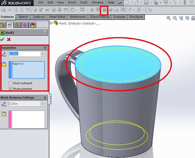 Shell feature in CAD Solidworks Tool