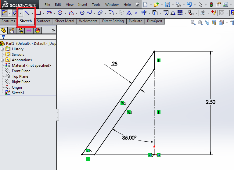 Coincident sketch in solidworks