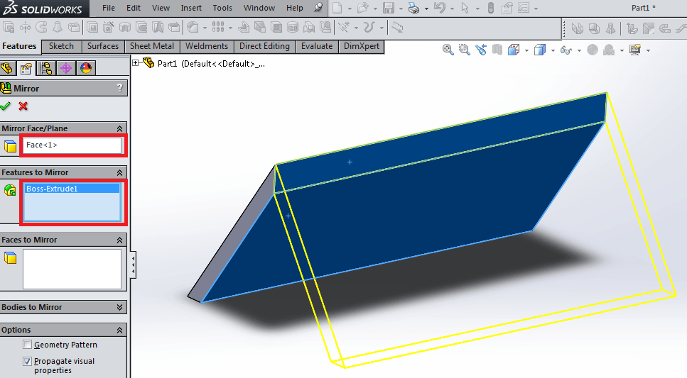 Extrude features in solidworks